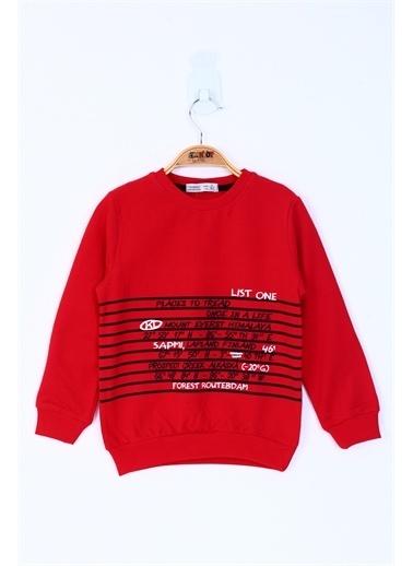 Toontoy Kids Toontoy Erkek Çocuk Yazı Baskılı Sweatshirt Kırmızı